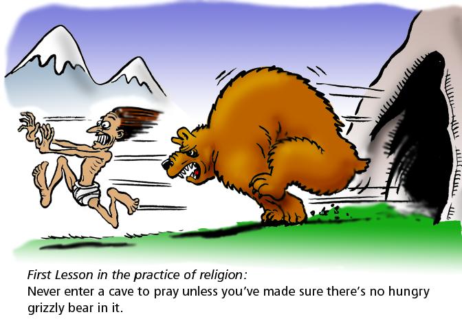 Bear chasing sadhu